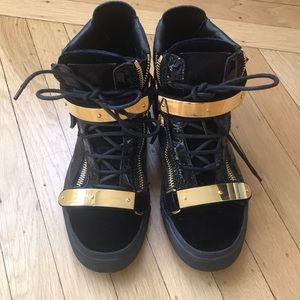 Giuseppe Zanotti Velvet & Patent Mid-Top Sneaker